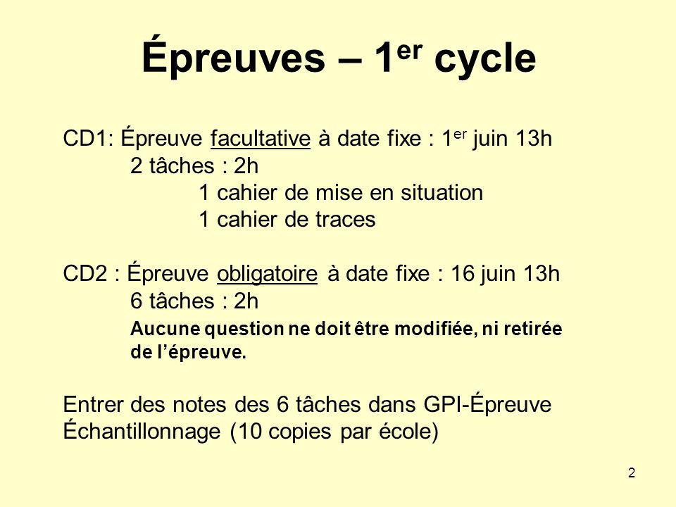Épreuves – 1er cycle CD1: Épreuve facultative à date fixe : 1er juin 13h 2 tâches : 2h. 1 cahier de mise en situation.