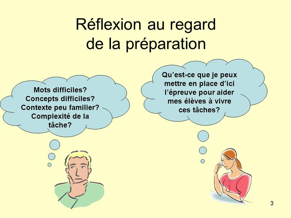 Réflexion au regard de la préparation