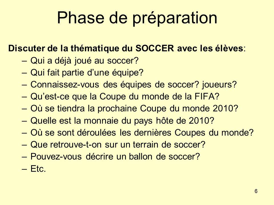 Phase de préparation Discuter de la thématique du SOCCER avec les élèves: Qui a déjà joué au soccer