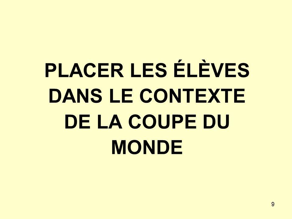 PLACER LES ÉLÈVES DANS LE CONTEXTE DE LA COUPE DU MONDE