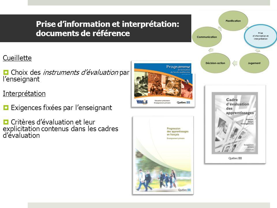 Prise d'information et interprétation: documents de référence