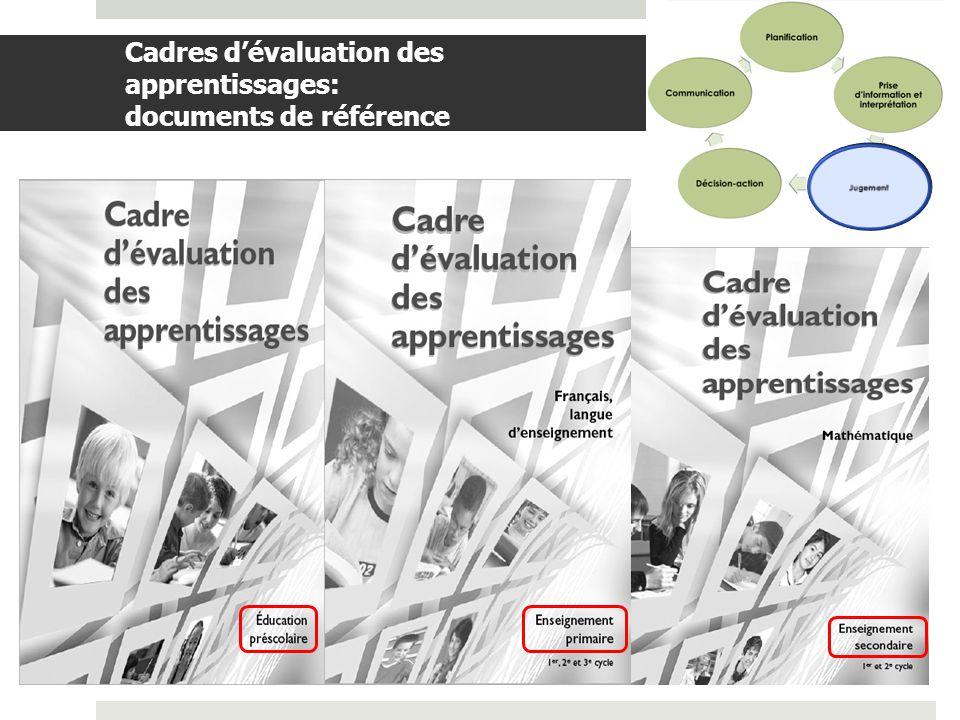 Cadres d'évaluation des apprentissages: documents de référence