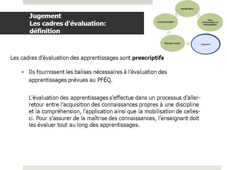 Jugement Les cadres d'évaluation: définition