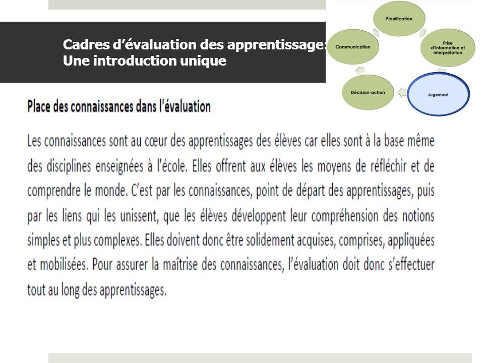 Cadres d'évaluation des apprentissage: Une introduction unique