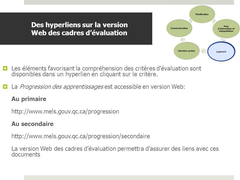 Des hyperliens sur la version Web des cadres d'évaluation