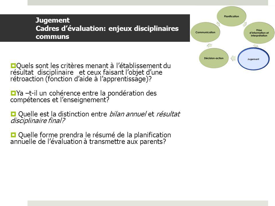 Jugement Cadres d'évaluation: enjeux disciplinaires communs