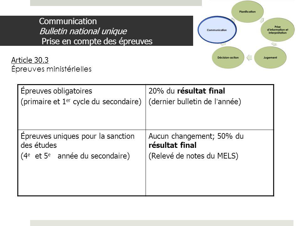 Communication Bulletin national unique Prise en compte des épreuves