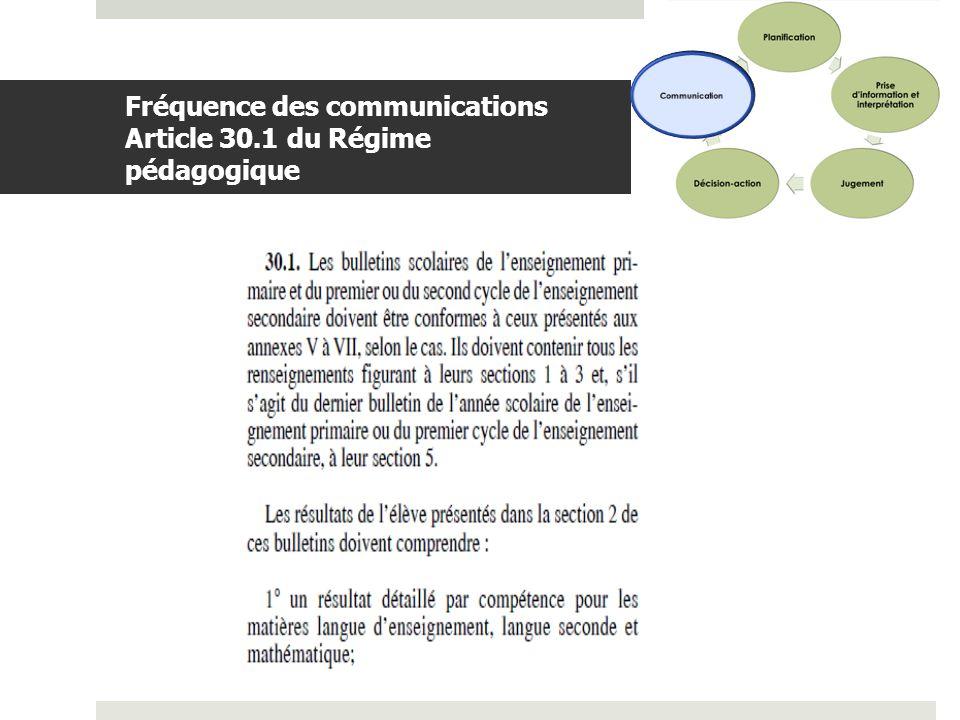 Fréquence des communications Article 30.1 du Régime pédagogique