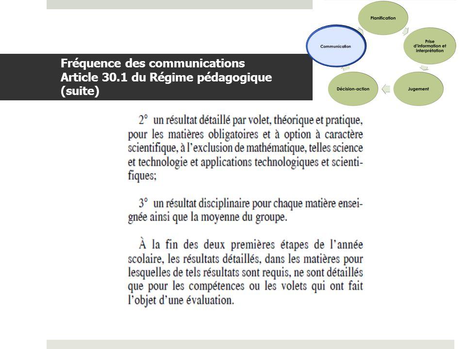 Communication Fréquence des communications Article 30.1 du Régime pédagogique (suite)