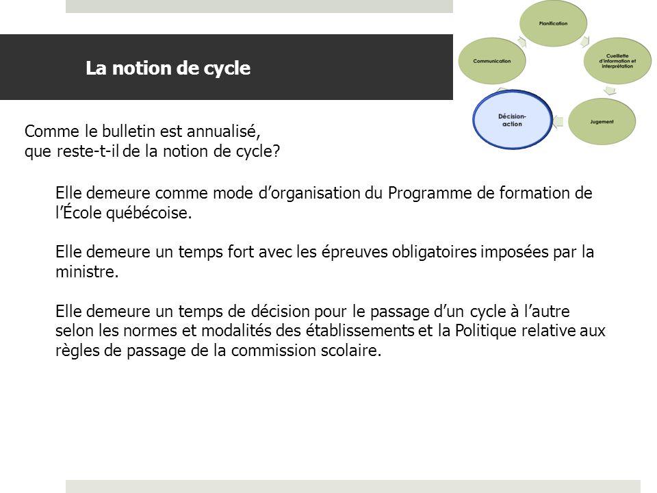 La notion de cycle Comme le bulletin est annualisé,