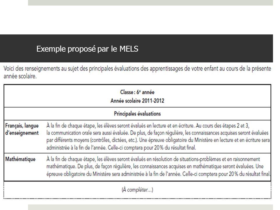 Exemple proposé par le MELS