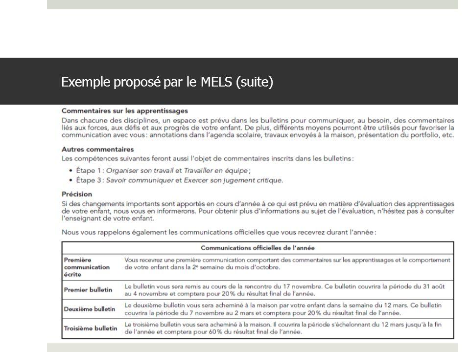 Exemple proposé par le MELS (suite)