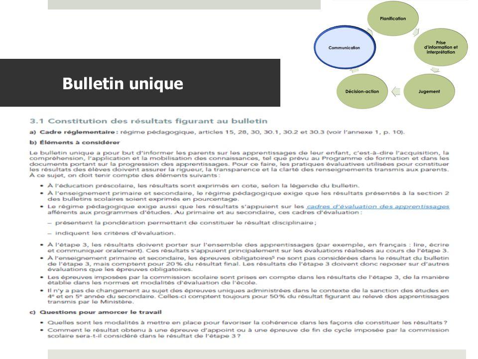 Communication Bulletin unique Les choix de notre école à l'heure du bulletin unique (extrait)
