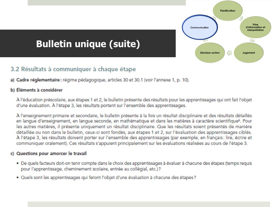 Bulletin unique (suite)