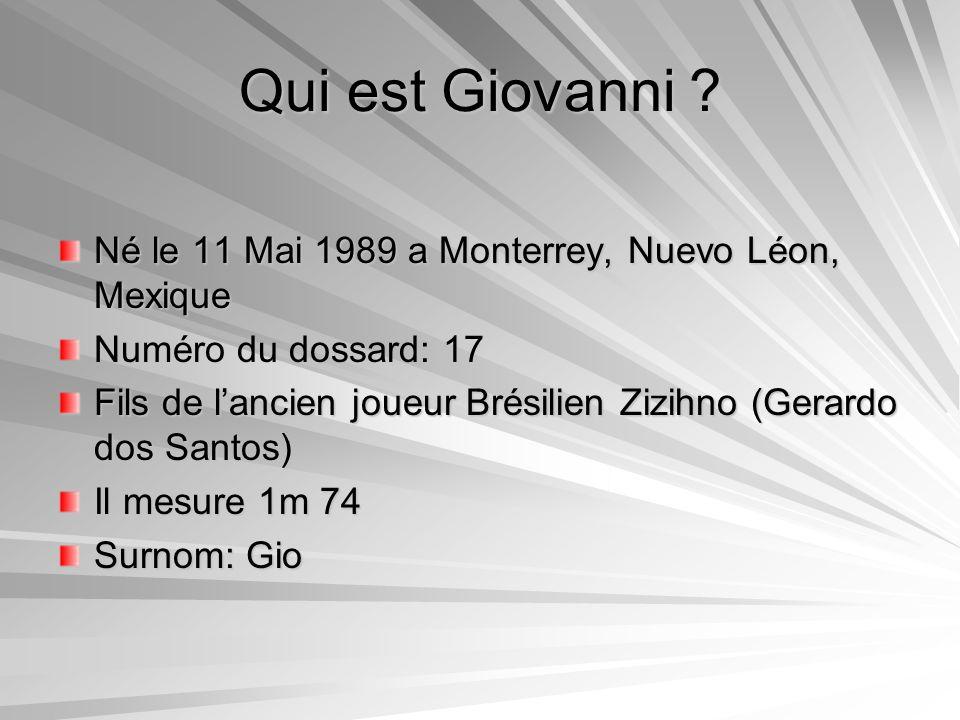 Qui est Giovanni Né le 11 Mai 1989 a Monterrey, Nuevo Léon, Mexique