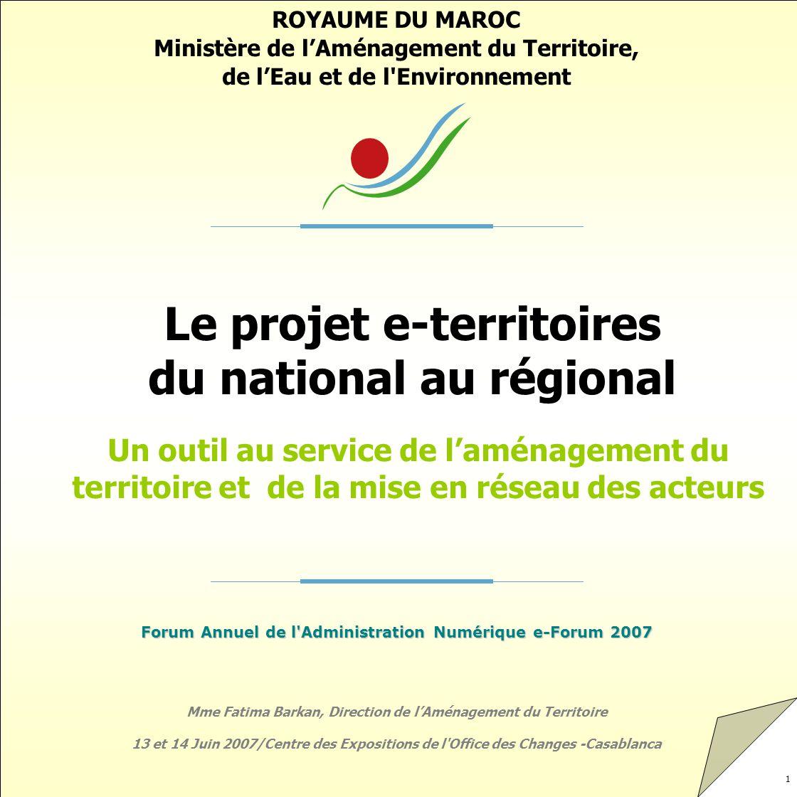 Le projet e-territoires du national au régional