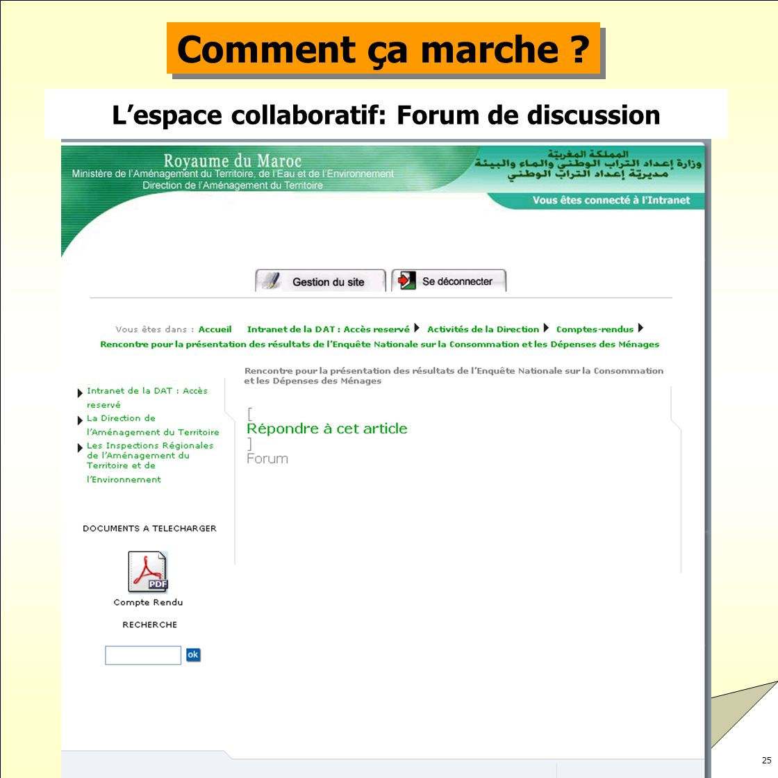 L'espace collaboratif: Forum de discussion