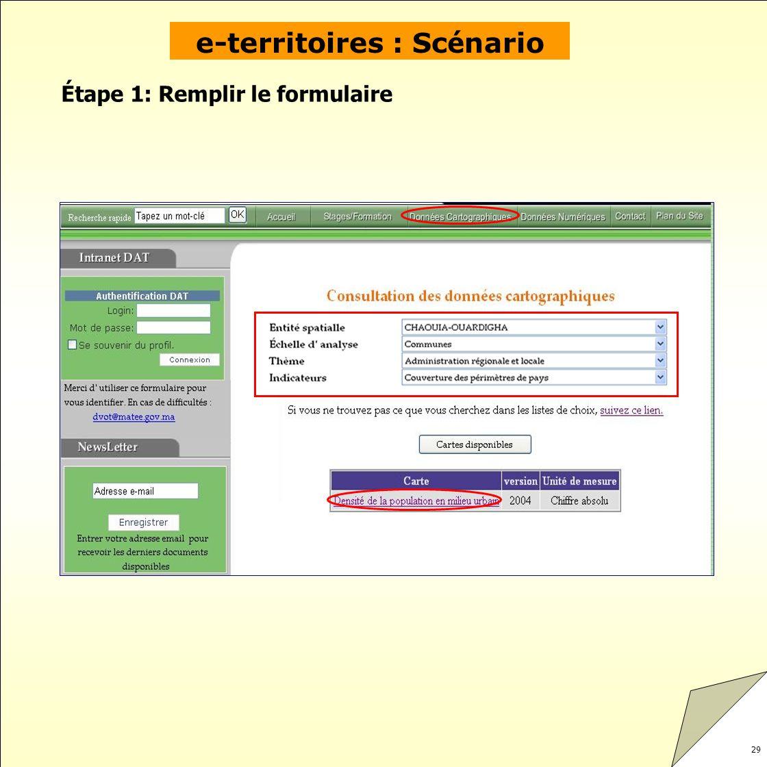 e-territoires : Scénario Étape 1: Remplir le formulaire