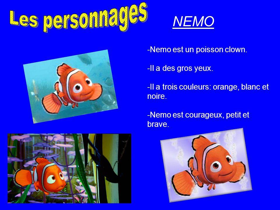 Les personnages NEMO -Nemo est un poisson clown. -Il a des gros yeux.