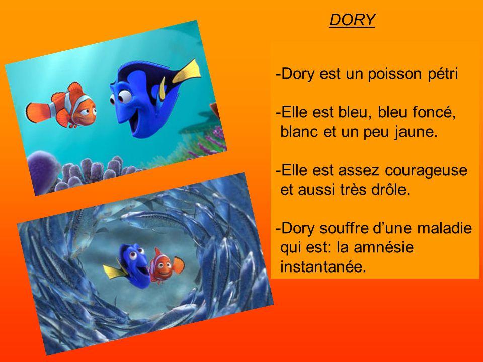 DORY -Dory est un poisson pétri. -Elle est bleu, bleu foncé, blanc et un peu jaune. -Elle est assez courageuse.