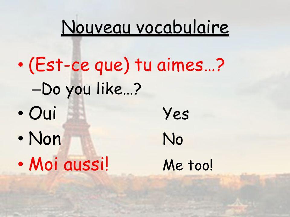 Nouveau vocabulaire (Est-ce que) tu aimes… Oui Yes Non No