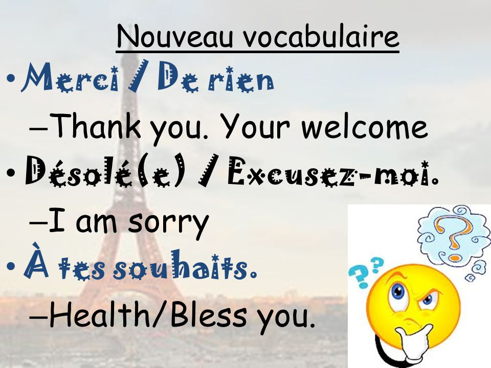 Désolé(e) / Excusez-moi. I am sorry À tes souhaits. Health/Bless you.