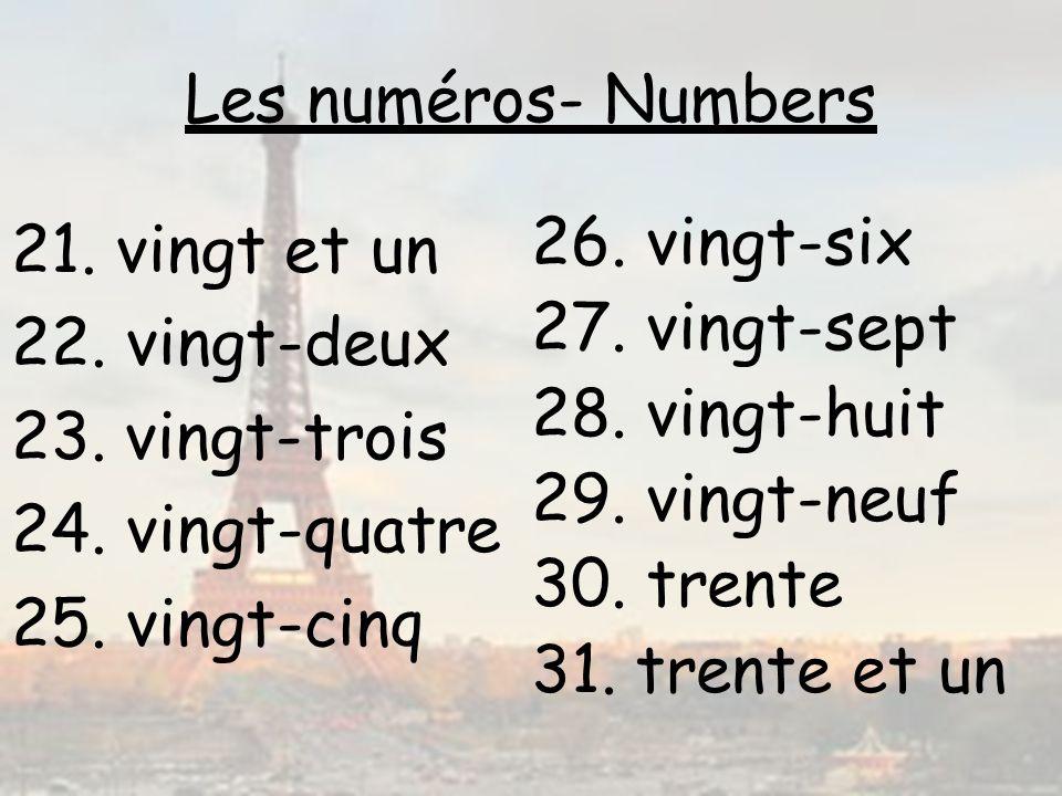 Les numéros- Numbers vingt et un. 22. vingt-deux. vingt-trois. 24. vingt-quatre. 25. vingt-cinq.