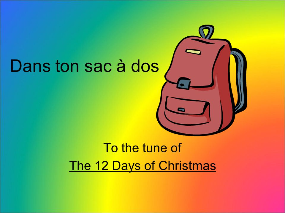 To the tune of The 12 Days of Christmas