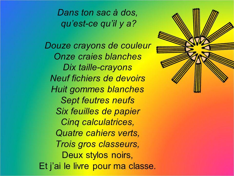 Douze crayons de couleur Onze craies blanches Dix taille-crayons