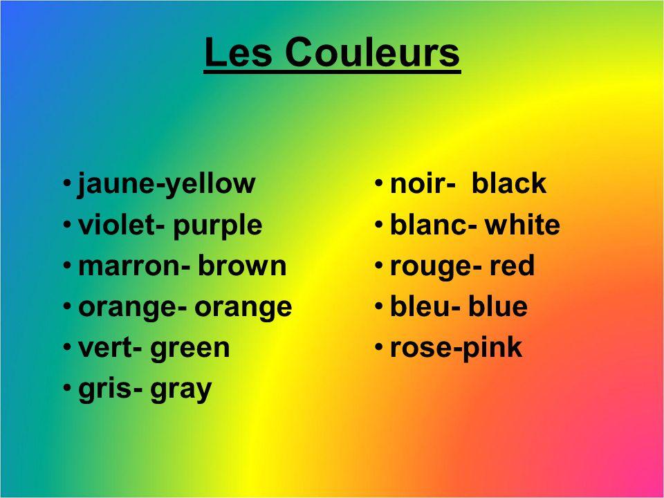 Les Couleurs jaune-yellow violet- purple marron- brown orange- orange