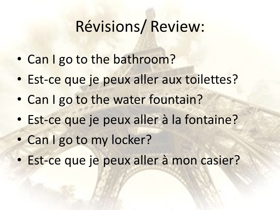 Révisions/ Review: Can I go to the bathroom