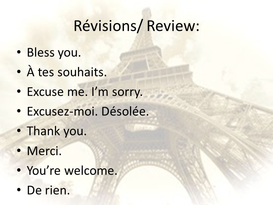 Révisions/ Review: Bless you. À tes souhaits. Excuse me. I'm sorry.