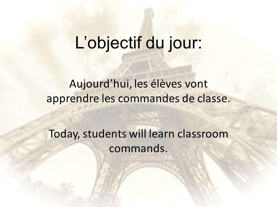 L'objectif du jour: Aujourd'hui, les élèves vont apprendre les commandes de classe.