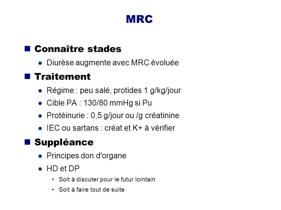 MRC Connaître stades Traitement Suppléance