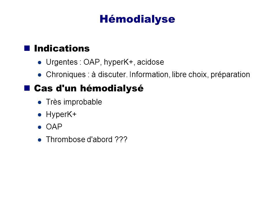 Hémodialyse Indications Cas d un hémodialysé