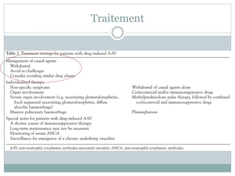 Traitement Pas de traitement standardisé. Adapté selon sévérité clinique et anapath