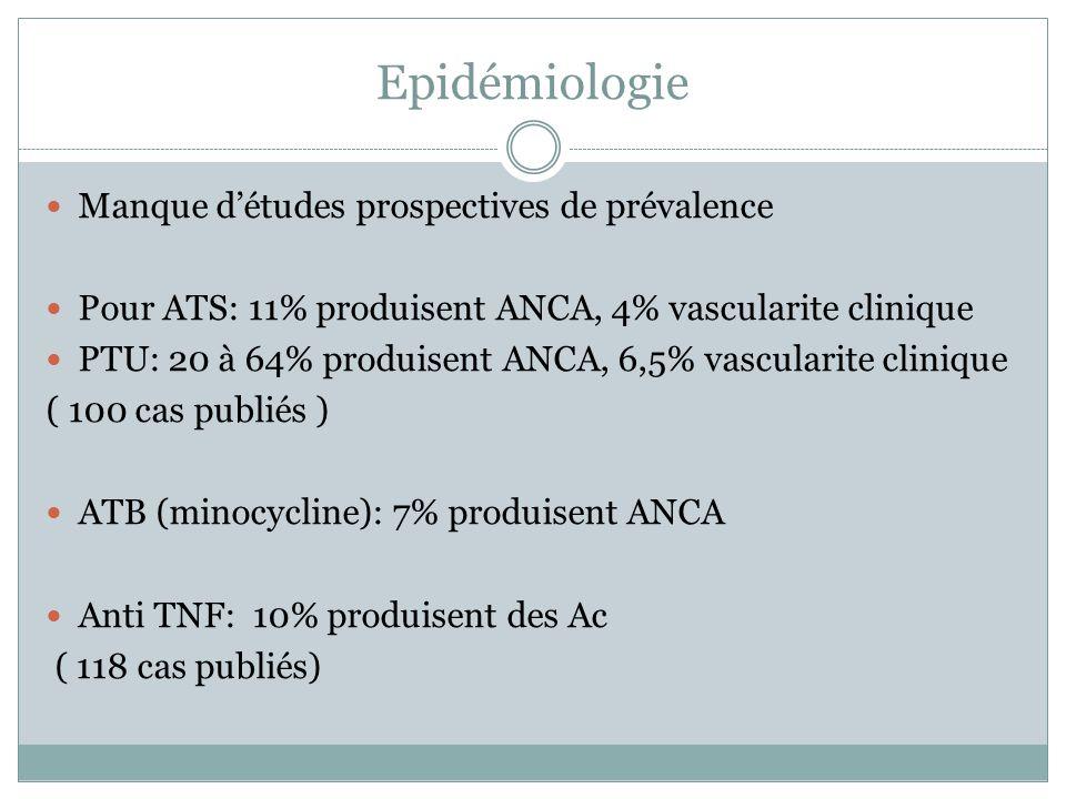 Epidémiologie Manque d'études prospectives de prévalence