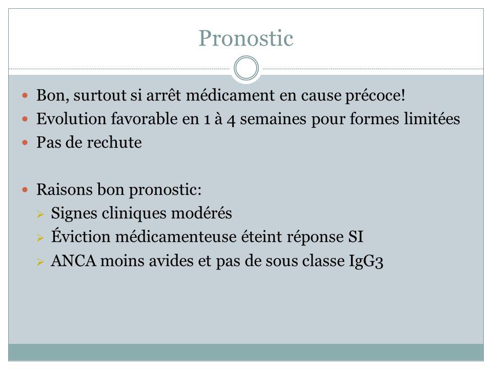 Pronostic Bon, surtout si arrêt médicament en cause précoce!