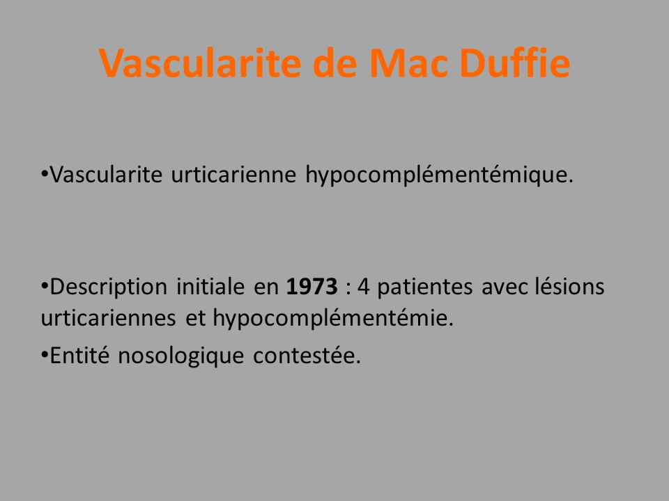 Vascularite de Mac Duffie