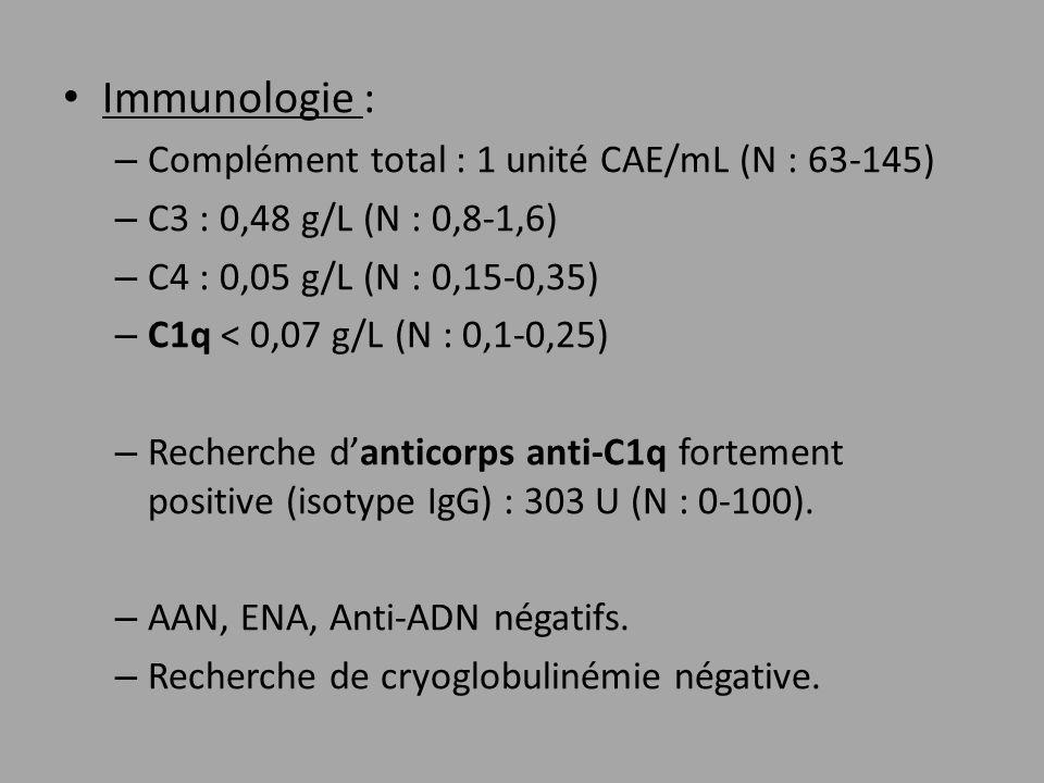 Immunologie : Complément total : 1 unité CAE/mL (N : 63-145)