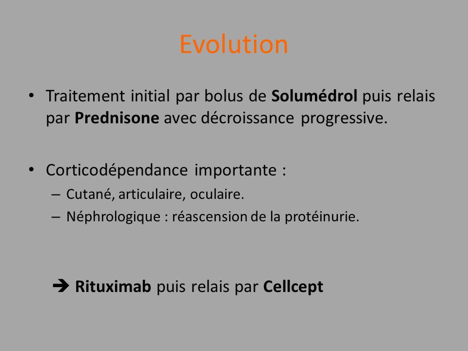 Evolution Traitement initial par bolus de Solumédrol puis relais par Prednisone avec décroissance progressive.