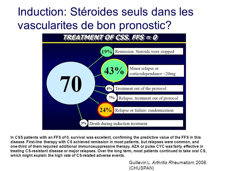 Induction: Stéroides seuls dans les vascularites de bon pronostic