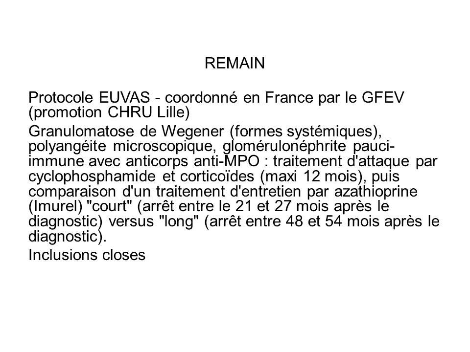 REMAIN Protocole EUVAS - coordonné en France par le GFEV (promotion CHRU Lille)