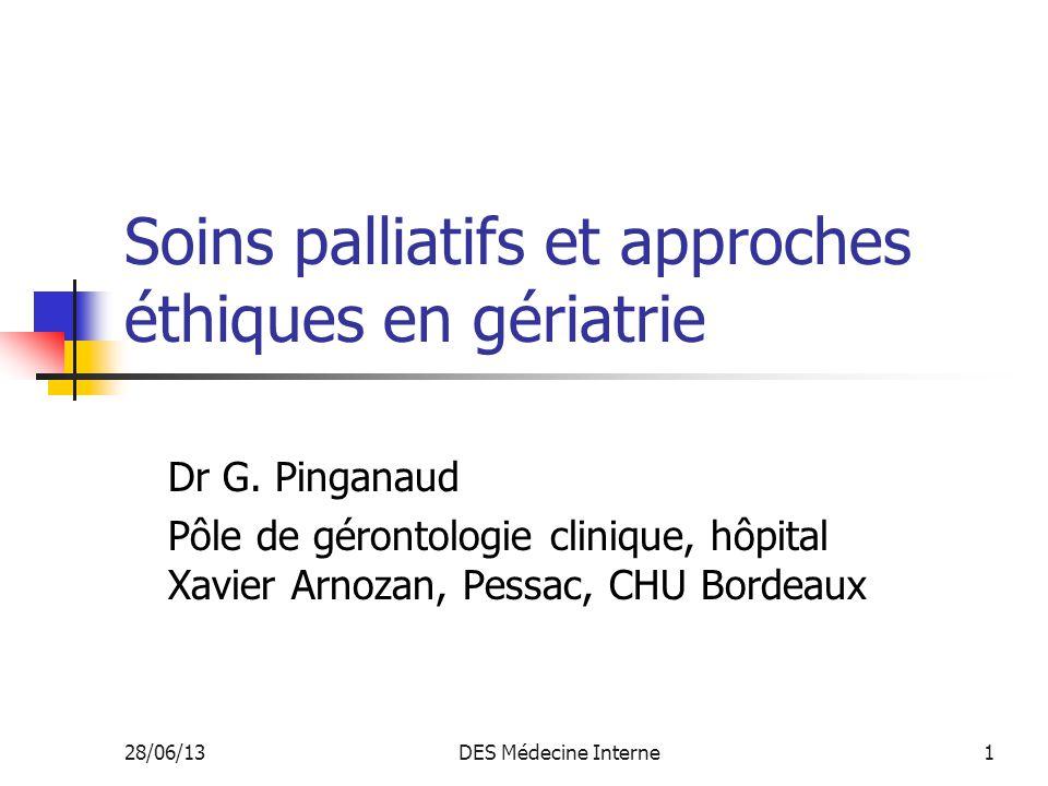 Soins palliatifs et approches éthiques en gériatrie