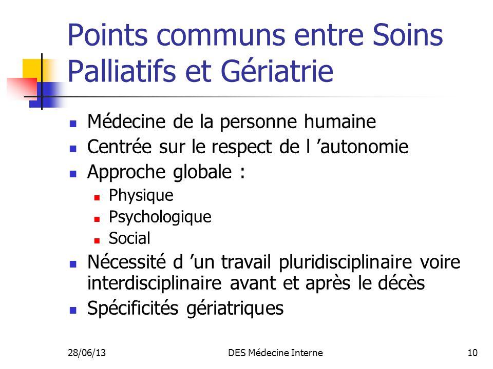 Points communs entre Soins Palliatifs et Gériatrie