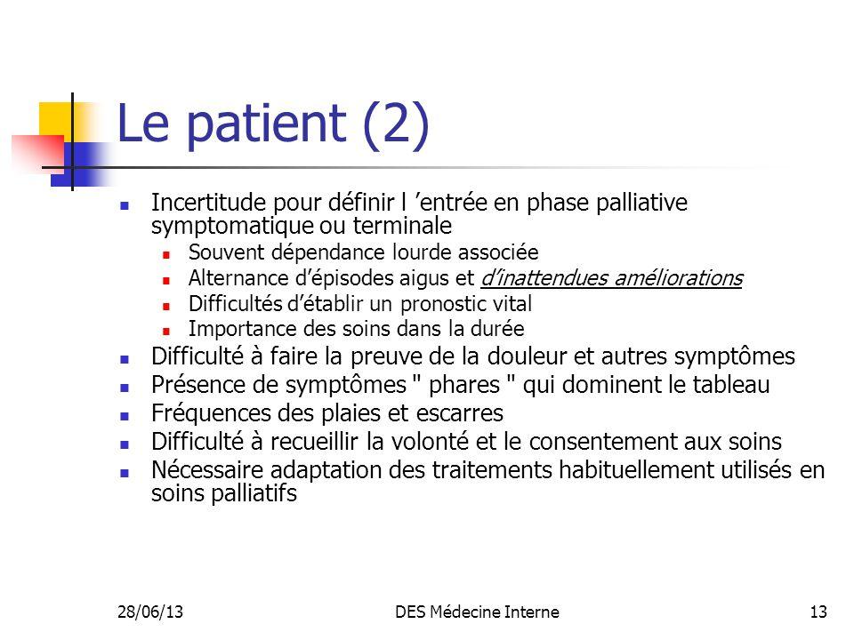 Le patient (2) Incertitude pour définir l 'entrée en phase palliative symptomatique ou terminale. Souvent dépendance lourde associée.