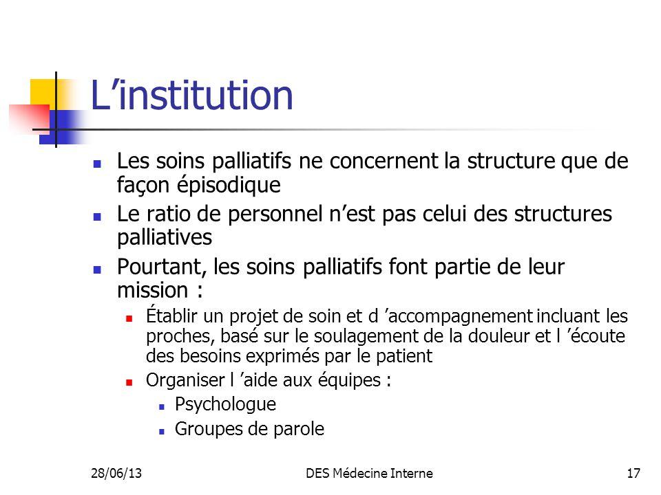 L'institution Les soins palliatifs ne concernent la structure que de façon épisodique.
