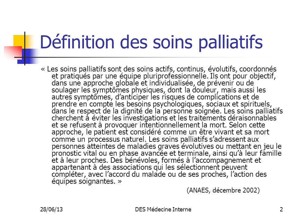 Définition des soins palliatifs