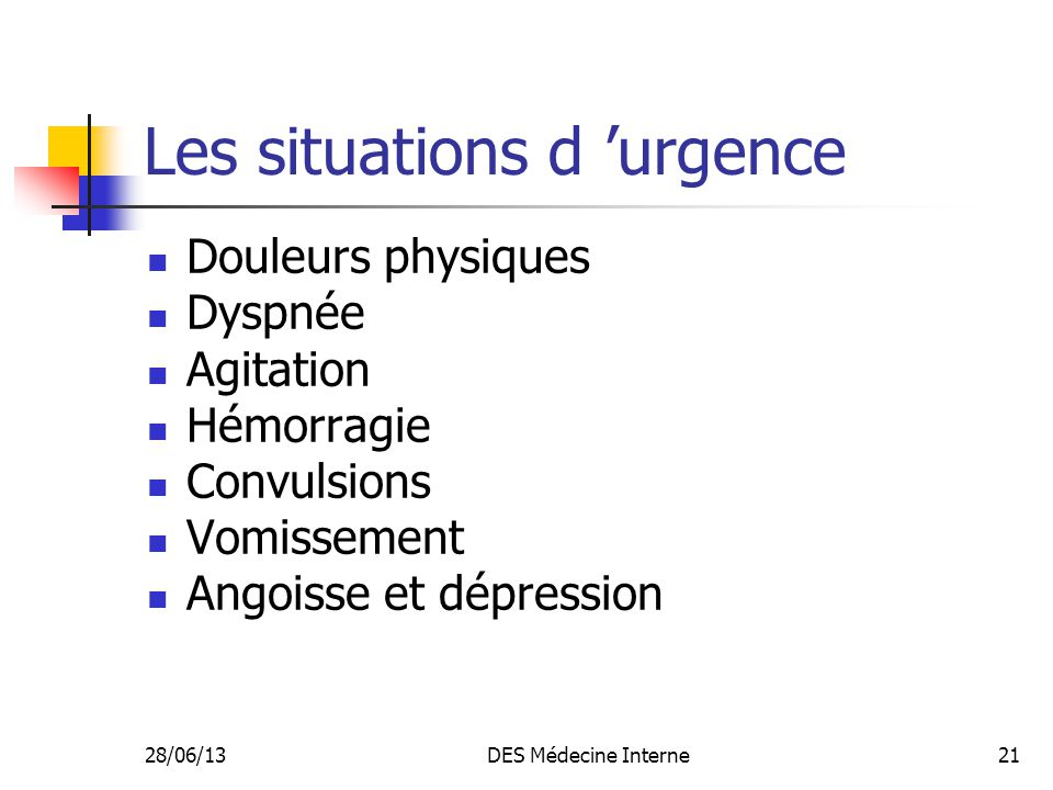 Les situations d 'urgence