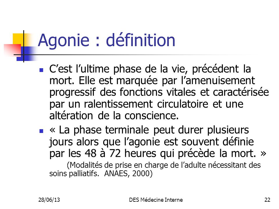 Agonie : définition